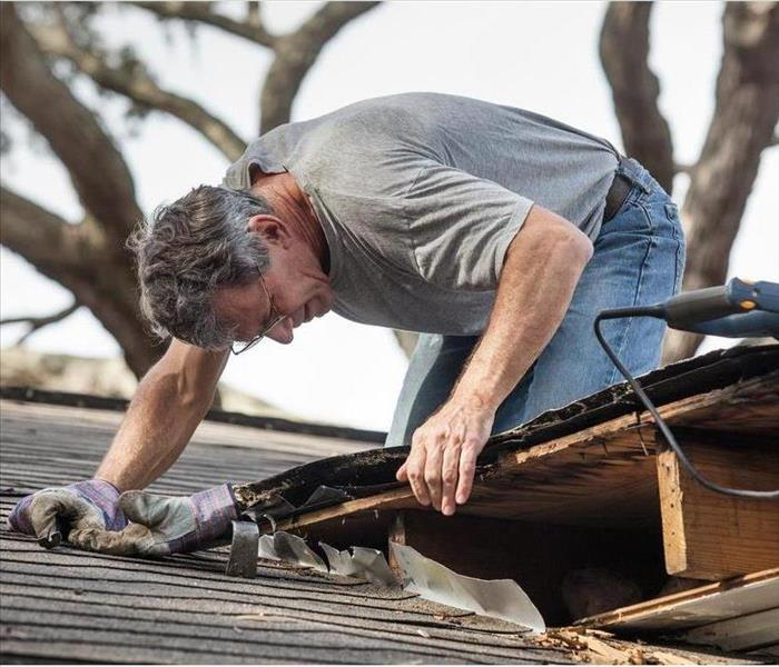 Close up view of man using removing rotten wood from leaky roof.