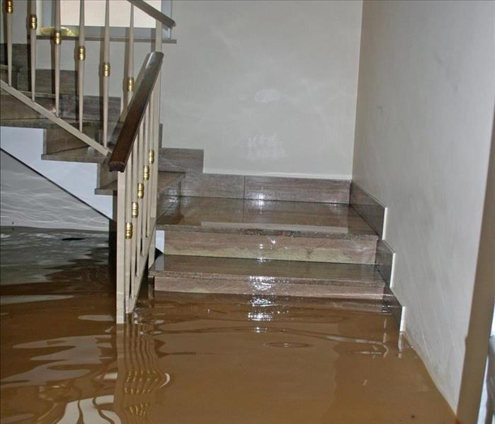 Stair of a house fully flooded