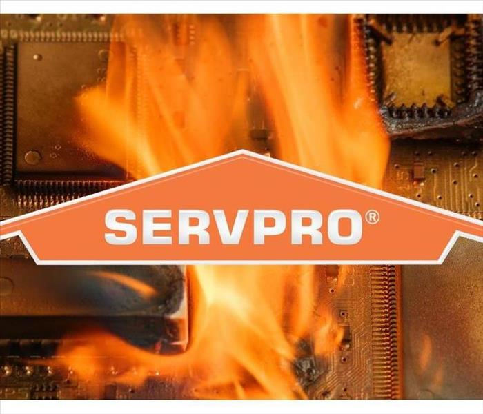Fire damaging an electronic SERVPRO logo on the picture